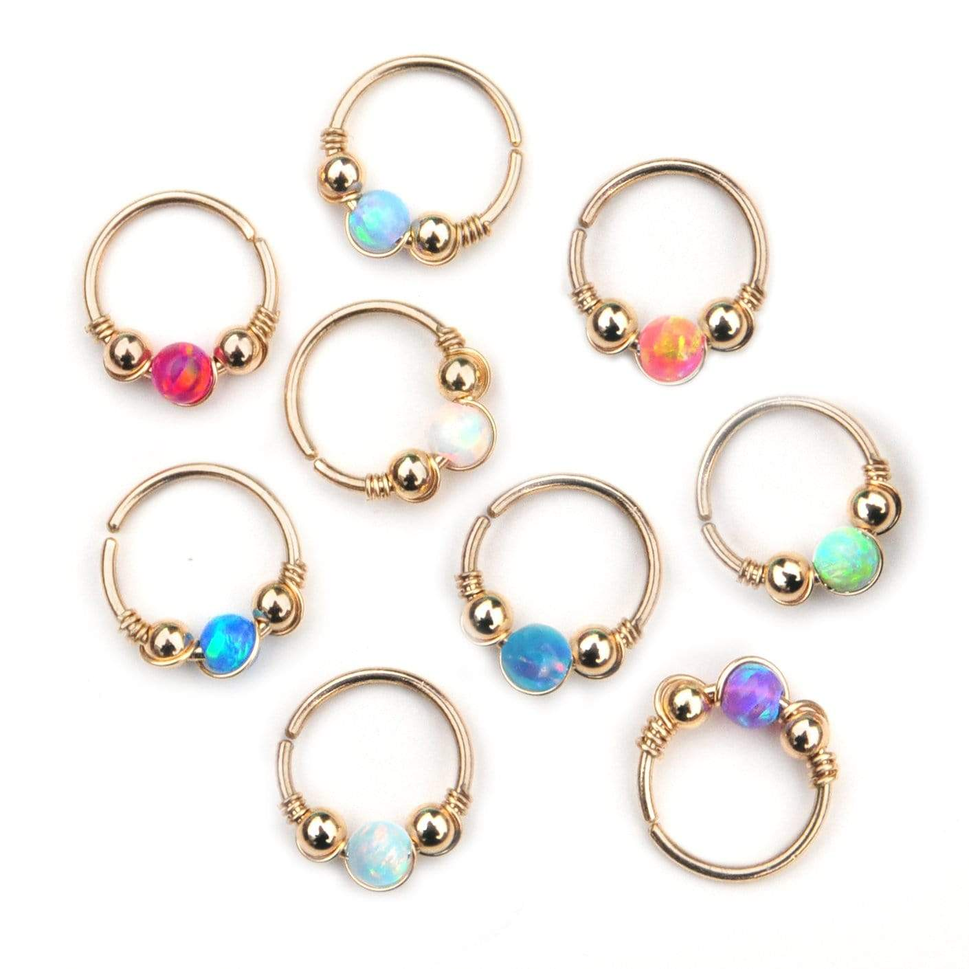 Gold Opal Hoop Earrings Cartilage Hoop Nose Ring Tragus