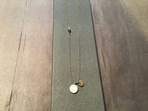 Necklace GF Pyrite Bead w/ Silver and Bronze Dot