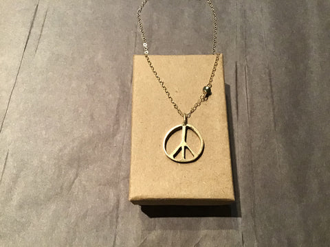 Peace Sign Necklace w/ Pyrite