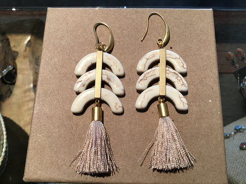 Tassel Earring w/3 Ceescents