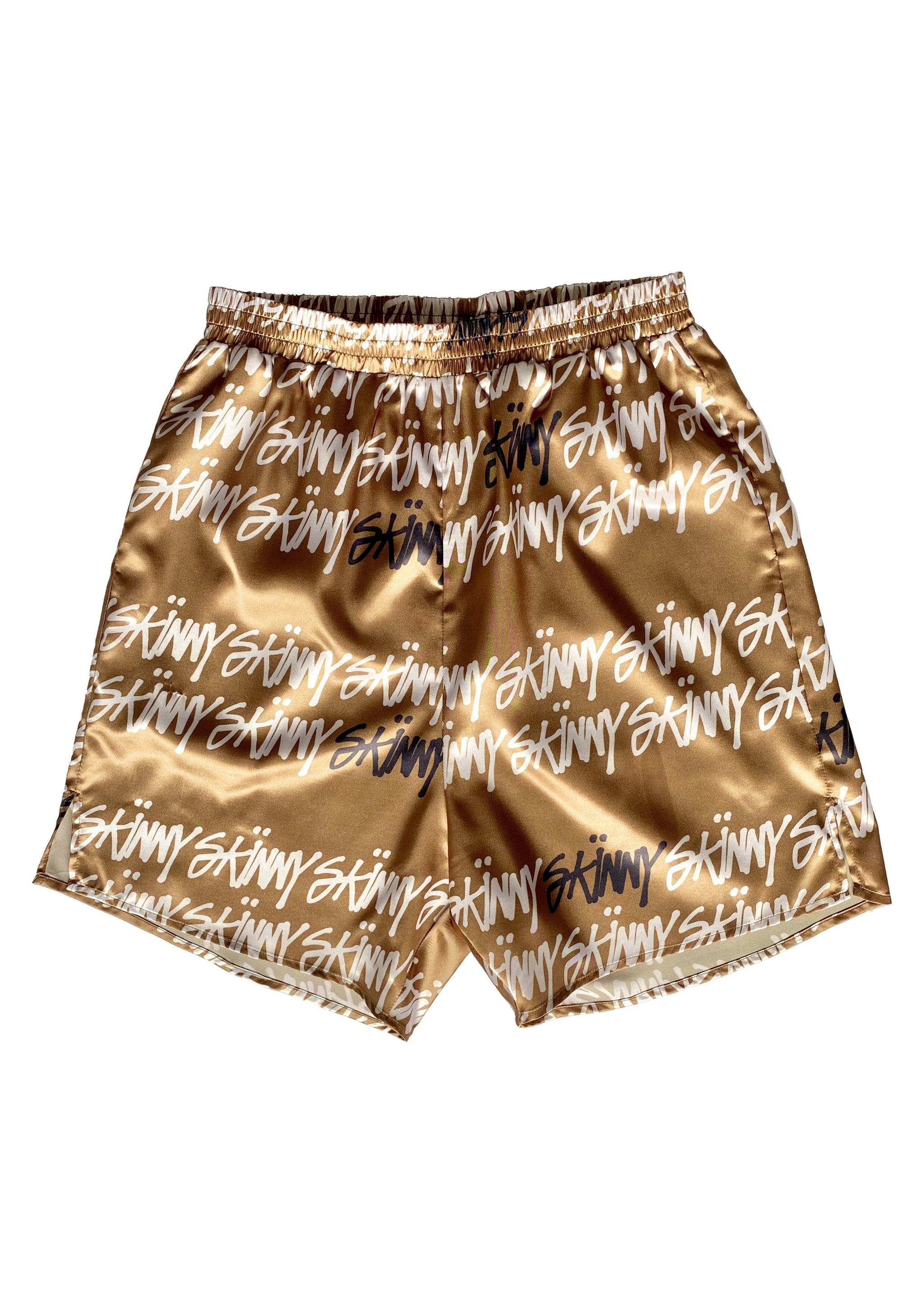 Skussy Shorts by The Skinnys (Unisex, elastic waistband, polyester blend, gold color, brass color)