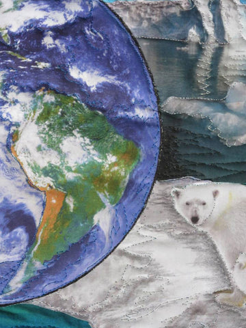 Global Warming - Save Our Planet art quilt, detailed version