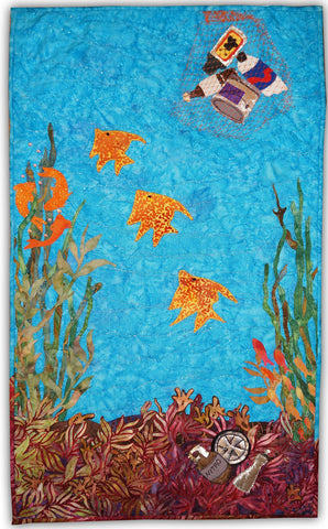 Save our kelp forests art quilt