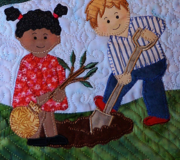 Seeds of Promise Art Quilt, detailed closeup