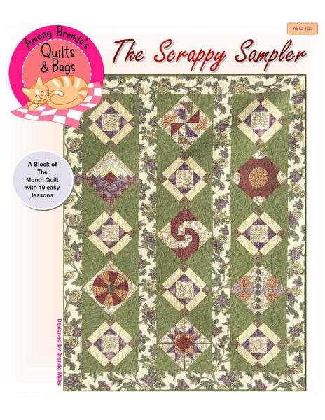 Pattern, Scrappy Sampler Quilt, block of the month