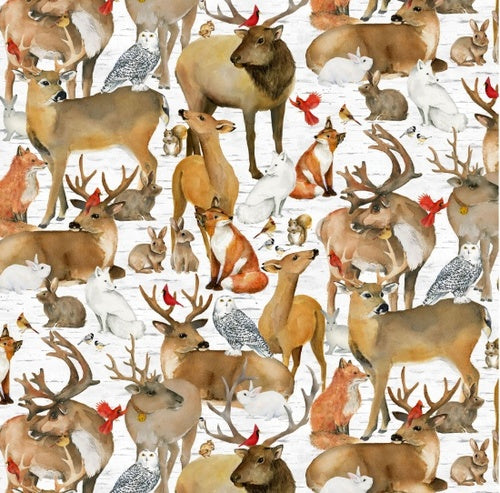 Fabric, Holiday, Sheltering Snowman Animals 1309-93