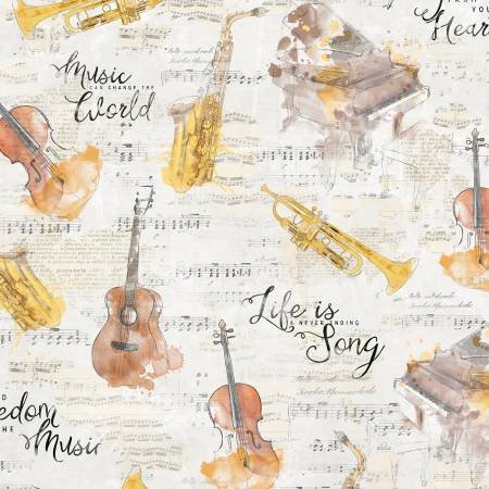 Fabric, Musical Gift, Allover Cream - 16520-259