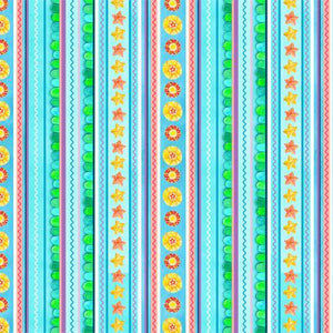 Fabric, Little Mermaids Blue Stripe ELIZ012021