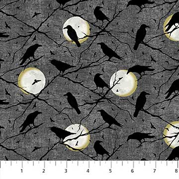 Fabric, Halloween, Elegantly Frightful Old Crows 22201-96