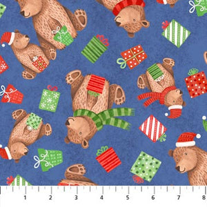 Fabric, Holiday Bearly Xmas 22808-44 Dark Blue