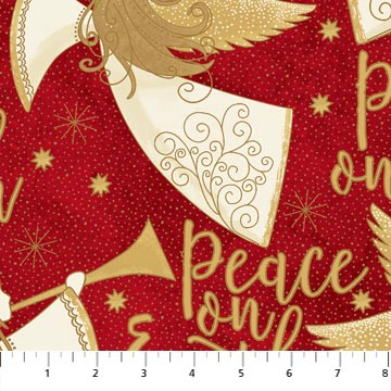 Fabric, Holiday Angels Above 2289M Red