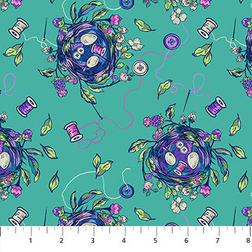 Fabric, Stag and Thistle  Bird Nest Turquoise 23306-66