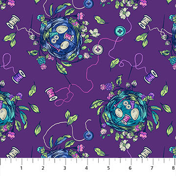 Fabric, Stag and Thistle Bird Nest Purple 23306-88
