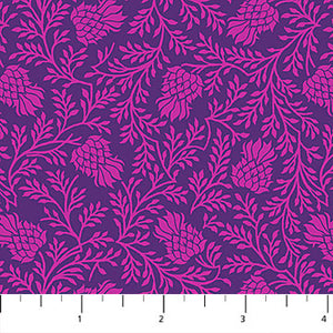 Fabric, Stag and Thistle Purple Thistle 23309 88