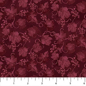 Fabric, You Had Me At Wine, Burgundy Grape Leaf-23581