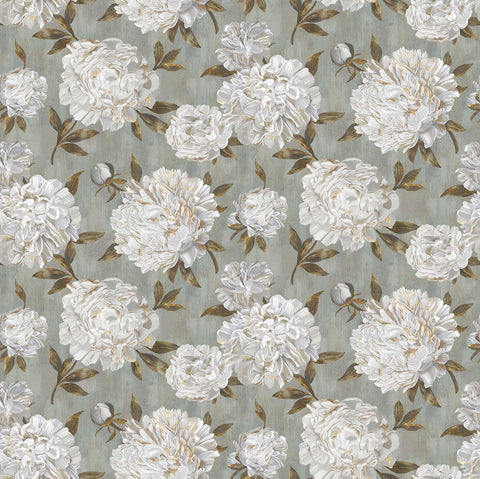Fabric, Ophelia, Gray/Green Peony Trail 23949-94