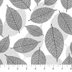 Fabric, Silhouette, Large Leaves Blk, Gray, Wht 23988 99