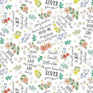 Fabric, White Word Toss - New Friends Collection 28143-171