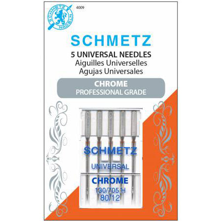 Chrome Universal Schmetz Needle 5 ct, Size 80/12 # 4009