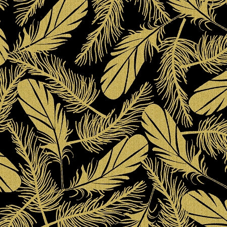 Fabric, Precious Metal Nature Feather 51405M-1