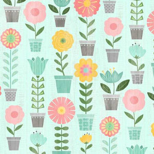 Fabric, Keep Shining Bright Aqua Potted Plants 68510-735