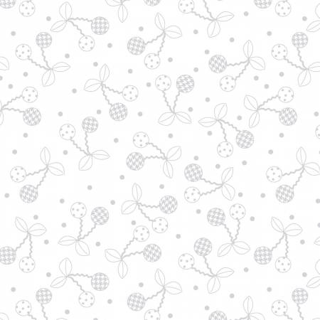 Fabric, White on White Cheerful Cherries Kimberbell Basics
