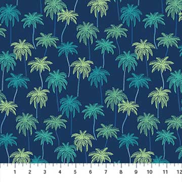 Fabric, Oasis, Palm Trees