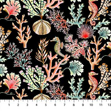 Fabric, Sea Botanica, Black Multi 90240-99