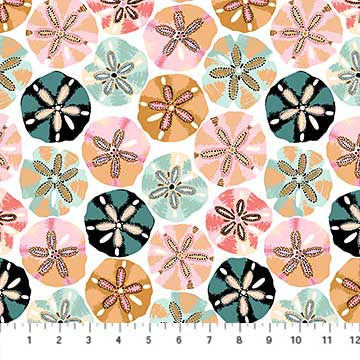 Fabric, Sea Botanica, White Multi Sand Dollar 90241-10