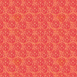 Fabric, Blossom & Bloom Orange Nouveau Damask 74206-383