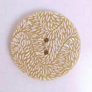 Button, White and Beige, 1 3/4""