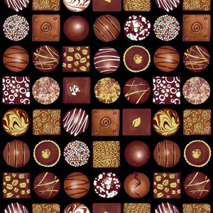 Fabric, Chocolicious, Black Box of Chocolates Digital 9846B-12