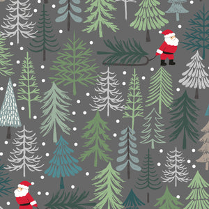 Fabric, New Forest Winter Dark Grey Sant's Tree C53-3
