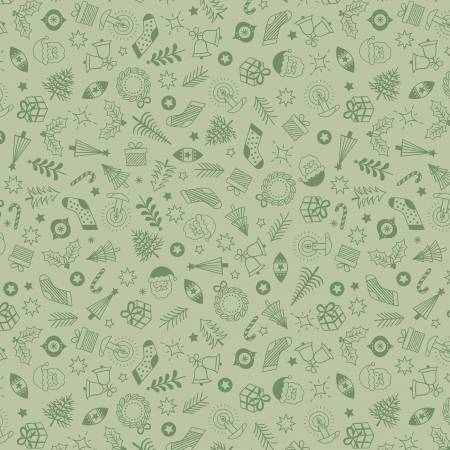 Fabric, New Forest Winter Green Little Christmas Things C57-3