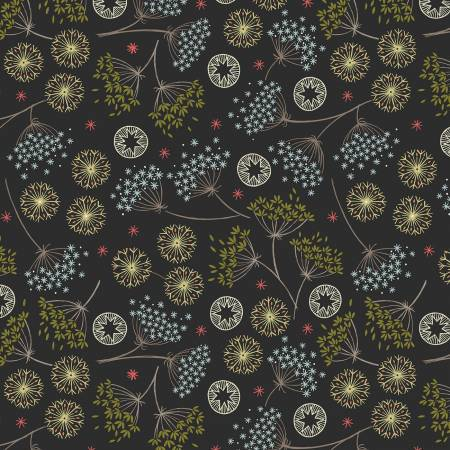 Fabric, New Forest Winter Black Winter Floral # C61-3