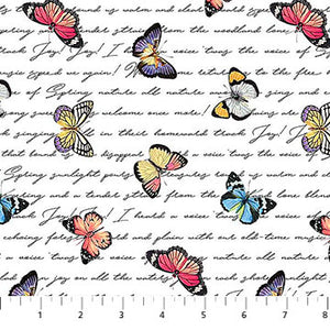 Fabric, Botanica Butterfly Script White DP23288-10