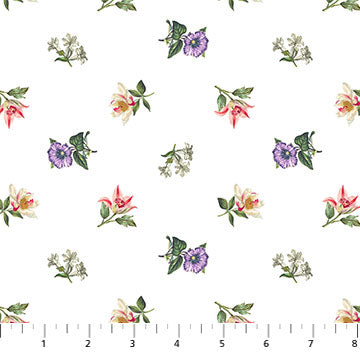 Fabric, Botanica Flower Toss White DP23289-10