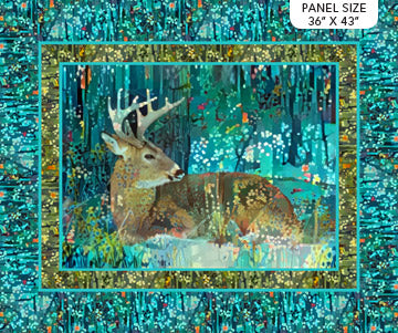 Fabric, Fantasy Forest, Panel Teal Multi DP23796-66