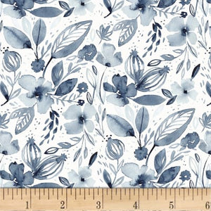 Fabric, Artistic Garden Flower Wash DCJ-1421 White