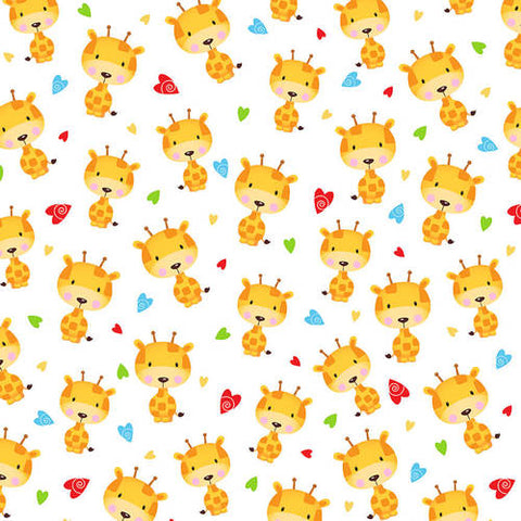 Fabric Flannel, Puppy Pals Tossed Giraffs F1593-4