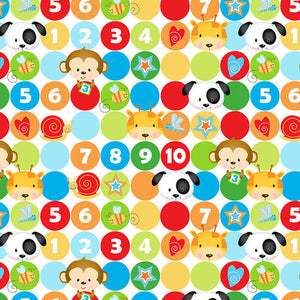 Fabric Flannel, Puppy Pals Dots with Characters F1596-81