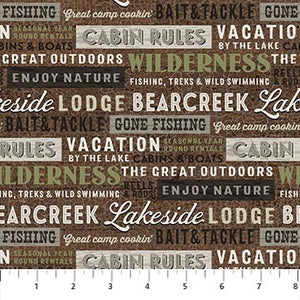 Fabric Flannel, Lakeside Lodge Words F23556-36