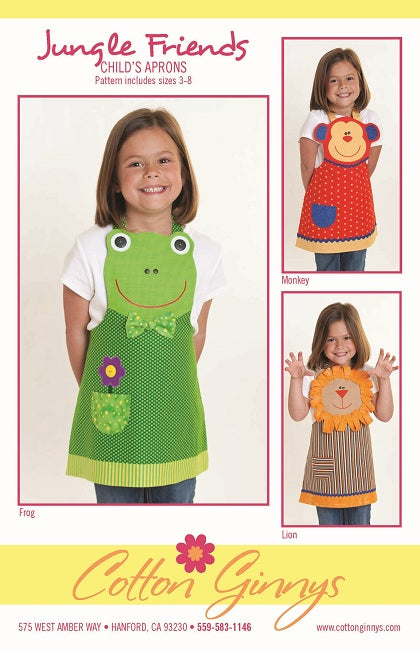 Pattern, Jungle Friends Childs Aprons, Frog, Monkey, Lion