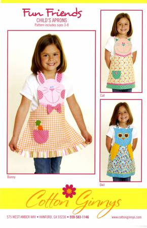 Pattern, Fun Friends Child's Apron, Cat, Bunny Owl