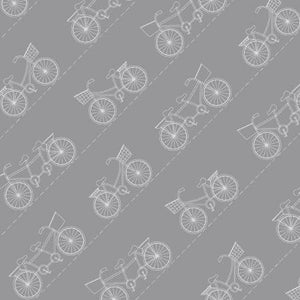 Fabric, Vintage Boardwalk Grey Diagonal Bikes by Kimberbell