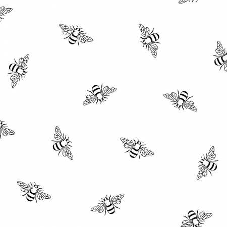 Fabric, White on White Bees Ramblings RAMS4211-W