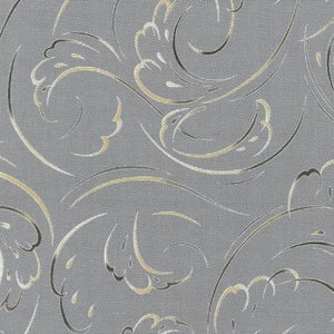 Fabric, Moonlight Garden Grey Floral w/Metallic # SRKM1900212