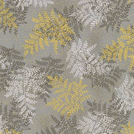 Fabric, Moonlight Garden Taupe Leafy Branches w/Metallic # SRKM19109160