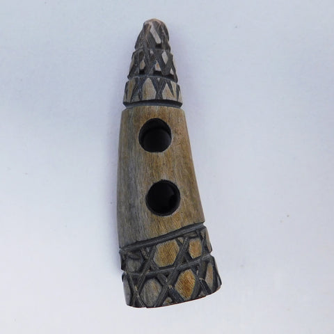 "Button, Toggle with Primitive Criss Cross Design, 2"" long"