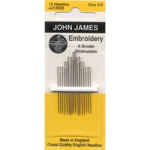 John James Embroidery / Crewel Needles Size 3/9